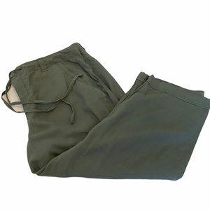 GLORIA VANDERBILT Green Linen Cropped Capri Pant